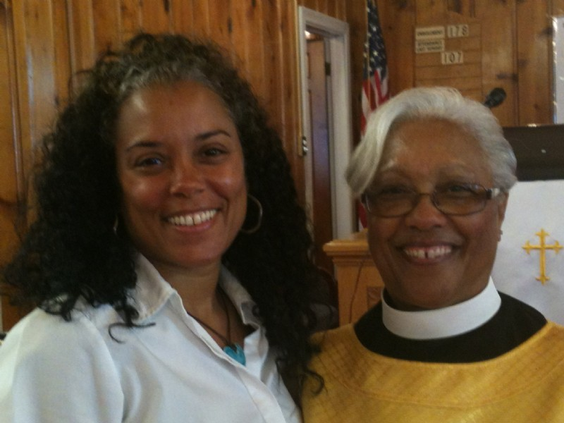 Pastor Jane Wood and her daughter